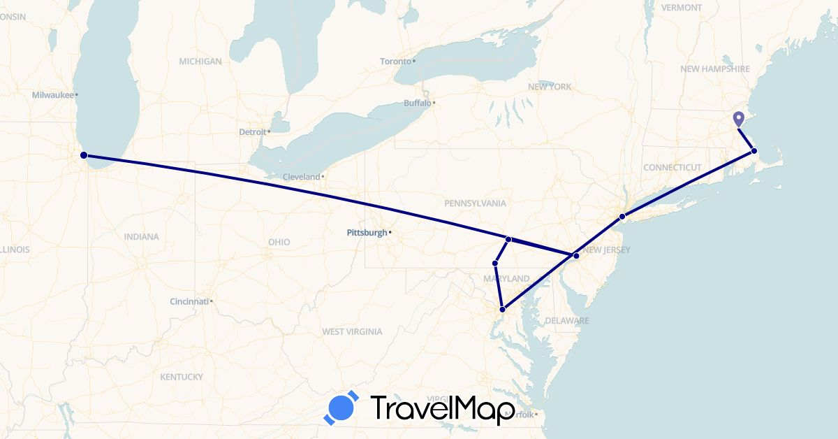 TravelMap itinerary: driving in United States (North America)